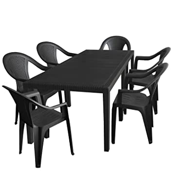 7 piezas. Jardín Jardín Mesa, ampliable, 150/220 x 90 cm + 6 sillas ...