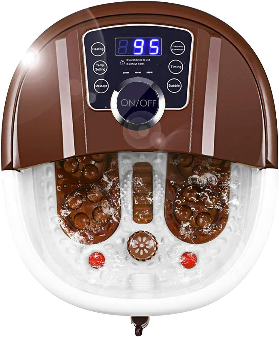 Giantex Foot Spa Bath Massager with Heat, Bubbles, 16 Pedicure Shiatsu Roller Massage Points, Frequency Conversion Power Saving, Adjustable Time & Temperature, LED Display, Drainage Pipe (Brown): Health & Personal Care