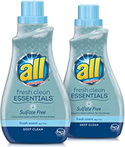 all Fresh Clean Essentials Sulfate Free Laundry Detergent, Fresh Scent, 30oz/23ld, 2 Count