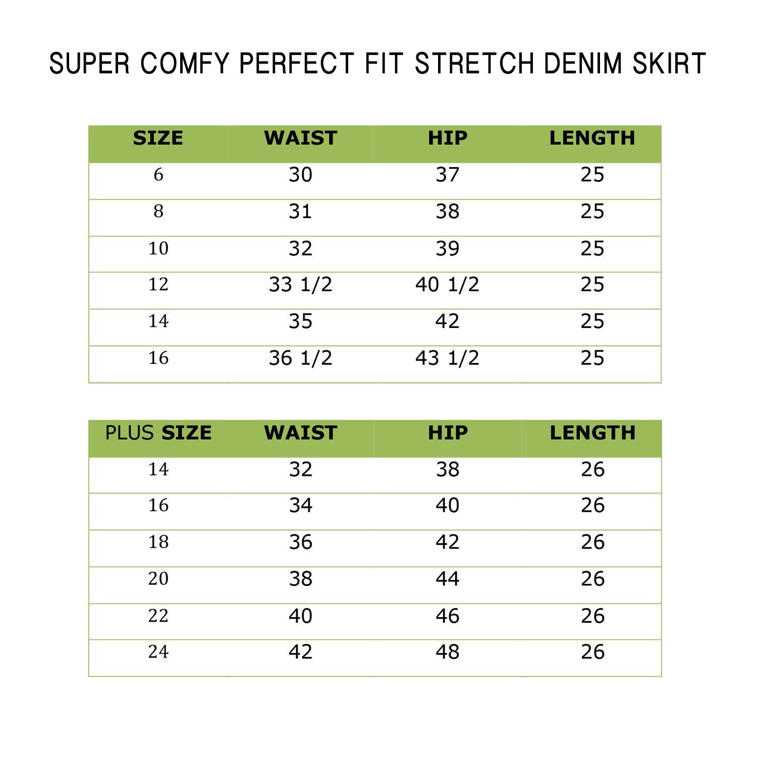 Lexi Womens Super Comfy Stretch Casual Denim Skirt