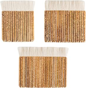PH PandaHall 3pcs Sheep Hair Hake Brush, Bamboo Handle Soft Brush Latex Paint Brush for Kiln Wash, Watercolor, Dust Cleaning, Ceramic, Pottery Painting Drawing Drafting