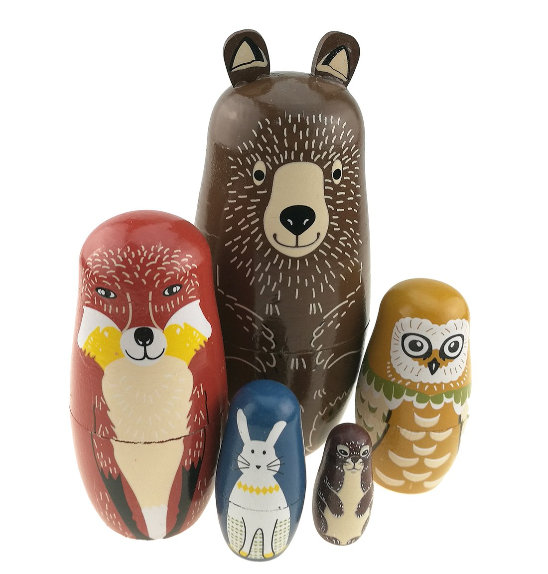 Set Of 5 Cartoon Bear Fox Owl Rabbit Raccoon Handmade Wooden Russian Nesting Dolls Matryoshka Dolls For Birthday Christmas New Year Gift Home Decoration Kids Toy