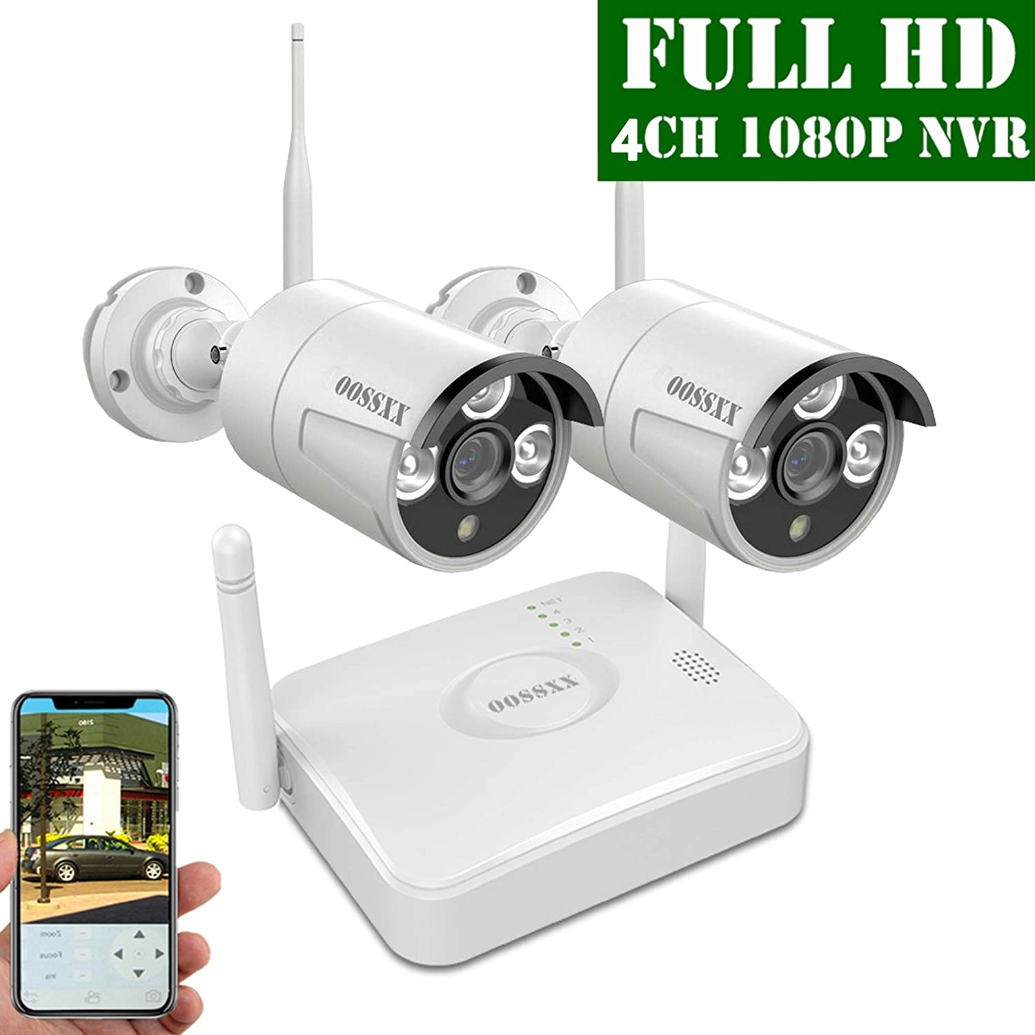 OOSSXX 4-Channel HD 1080P Wireless Mini Security Camera System,2Pcs 1080P Wireless Indoor Outdoor IR Bullet IP Cameras,P2P,App,No HDD