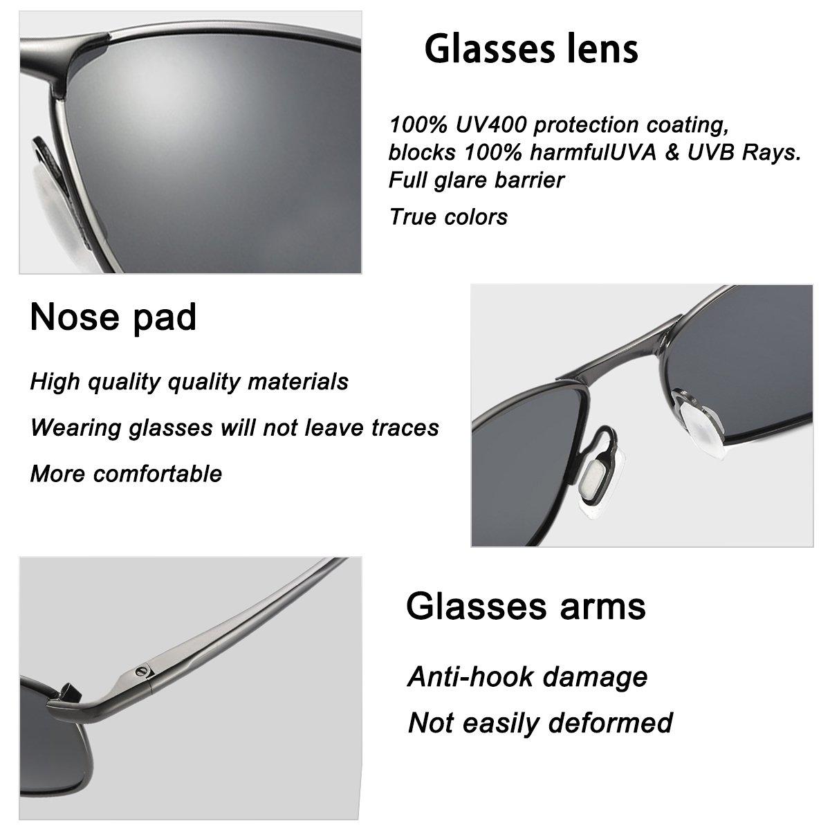 Amazon.com: FEIDU Sport Polarized Sunglasses for Men Stylish HD Lens Metal Frame Mens Sunglasses FD 9005 (Black/Gun, 2.24): Home & Kitchen