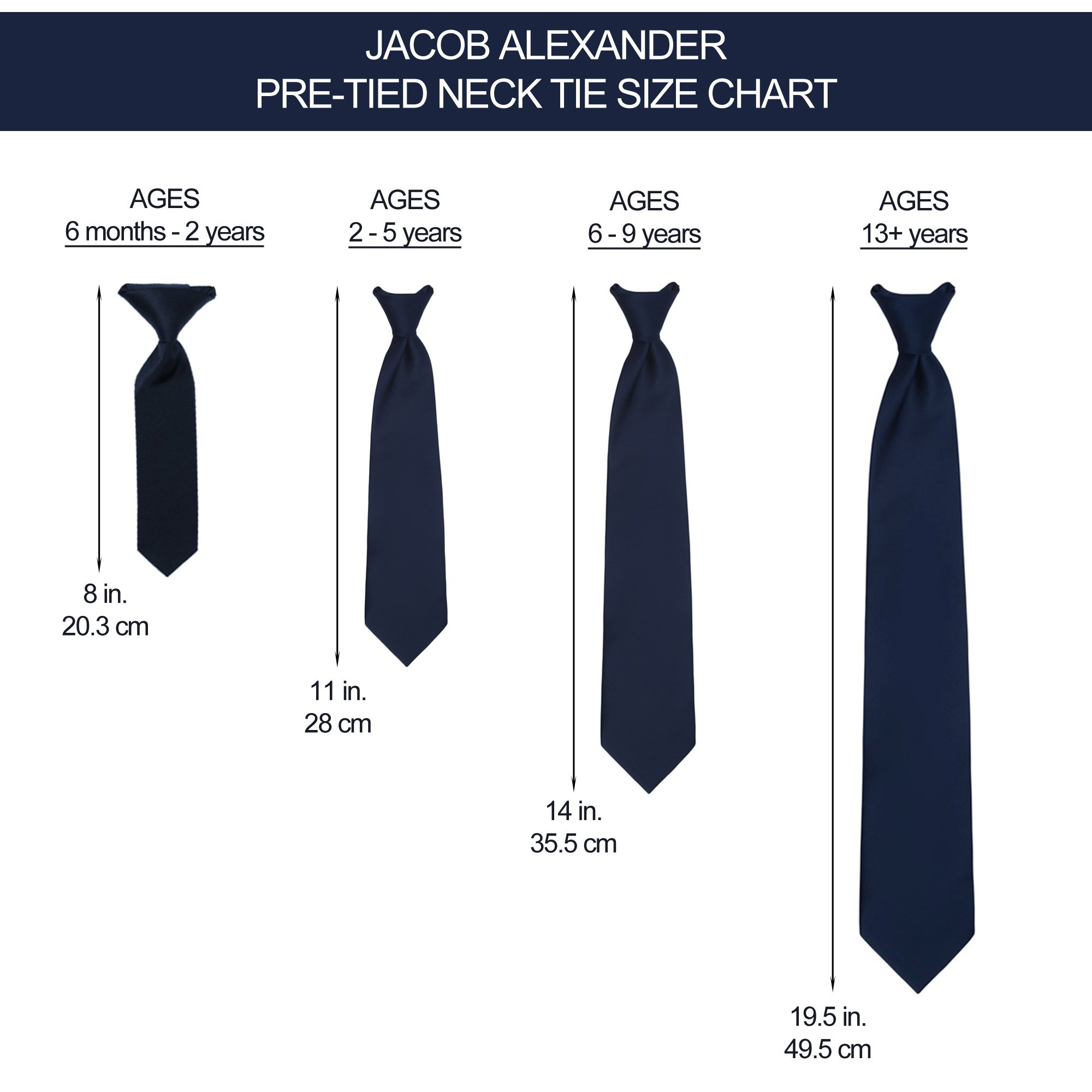 Jacob Alexander Infant's Toddler's 8'' Pretied Ready Made Solid Color Hook and Loop Band Tie - Red by Jacob Alexander (Image #2)