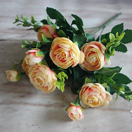 Amazon 2pcs peony artificial flowers silk bouquet home decor 2pcs peony artificial flowers silk bouquet home decor gift ranunculus lu lotus wedding party decorations mightylinksfo