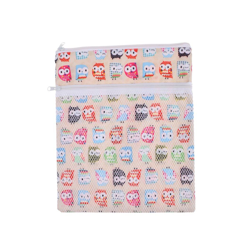 Generic Mummy Cloth Diaper Bag Wet Dry Zipper Tote Nappy Bag Owl Pattern Grey