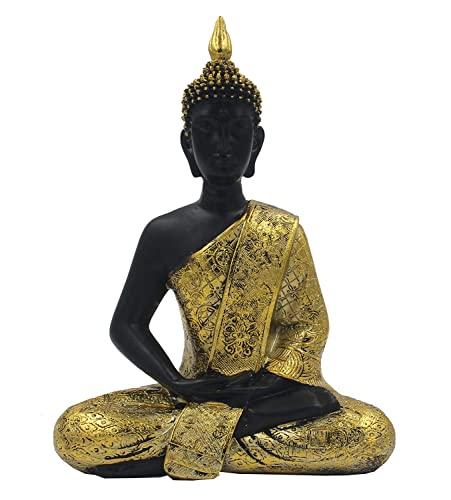 DharmaObejcts Golden 11 Inches Thai Buddha Meditating Peace Harmony Statue