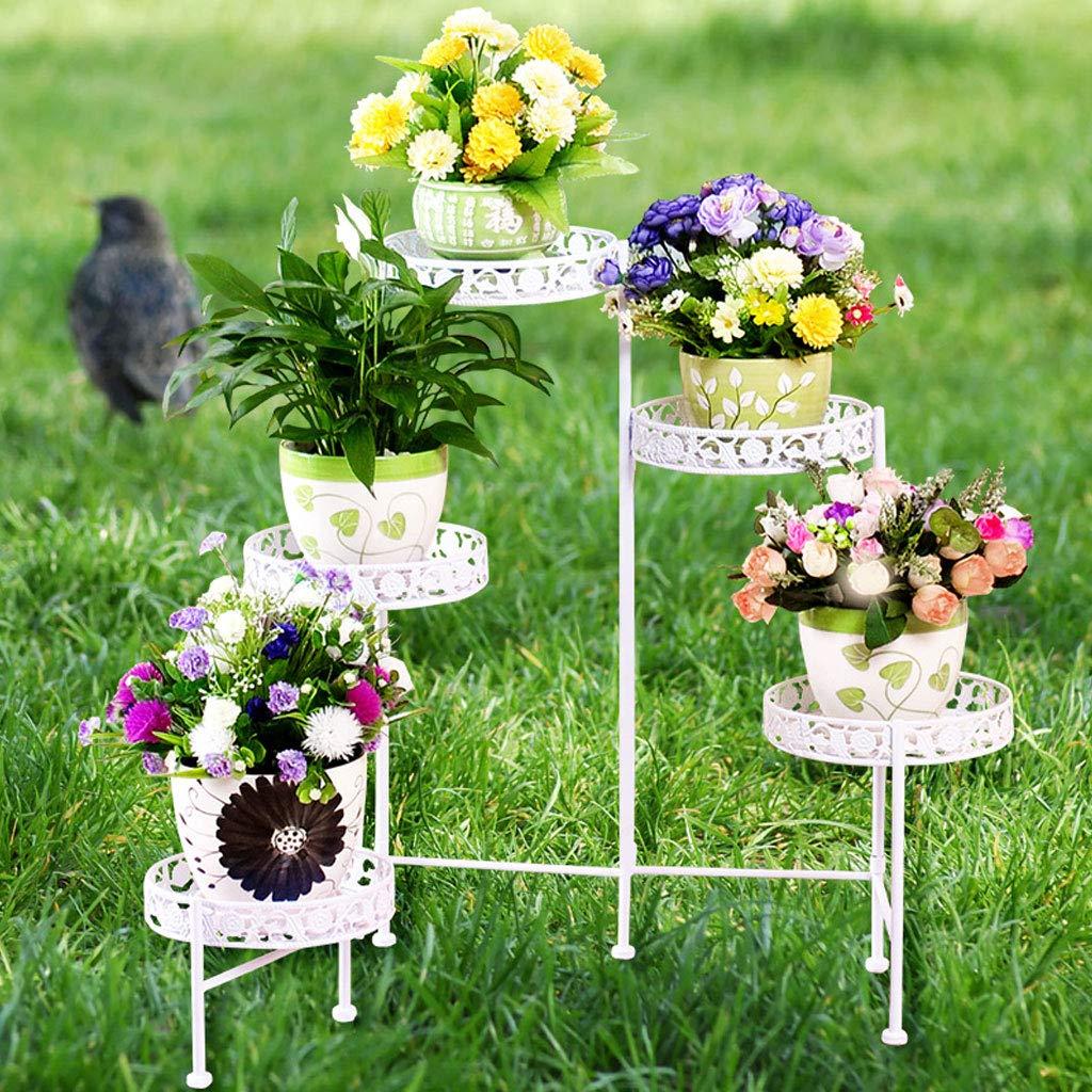 Cremagliere del fiore 5-Tiered Scroll Plant Stand Indoor Outdoor Metallo Vaso da Fiori Stand Rack Classic Flower Display Shelf Holder (3 Colorei)