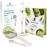 Jade Leaf Modern Matcha Starter Set - Electric Matcha Whisk + Milk Frother, Stainless Steel Spoon, Stainless Steel Sifter, Pr