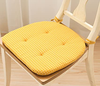 Chair Pads Soft Cotton Mixed Thicken Chair Cushions Dining With Ties (Yellow )