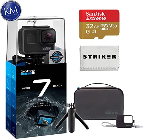 GoPro Hero 7 Black Action Camera with GoPro Travel Kit Essential Bundle Includes Shorty, Sleeve and Lanyard, and Case.