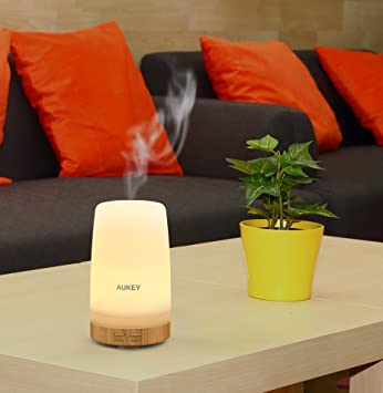 AUKEY Essential Oil Diffuser, 100ml Frosted Glass Ultrasonic Diffuser for Aromatherpay with Color Changing LED Lights and Auto Shut-off