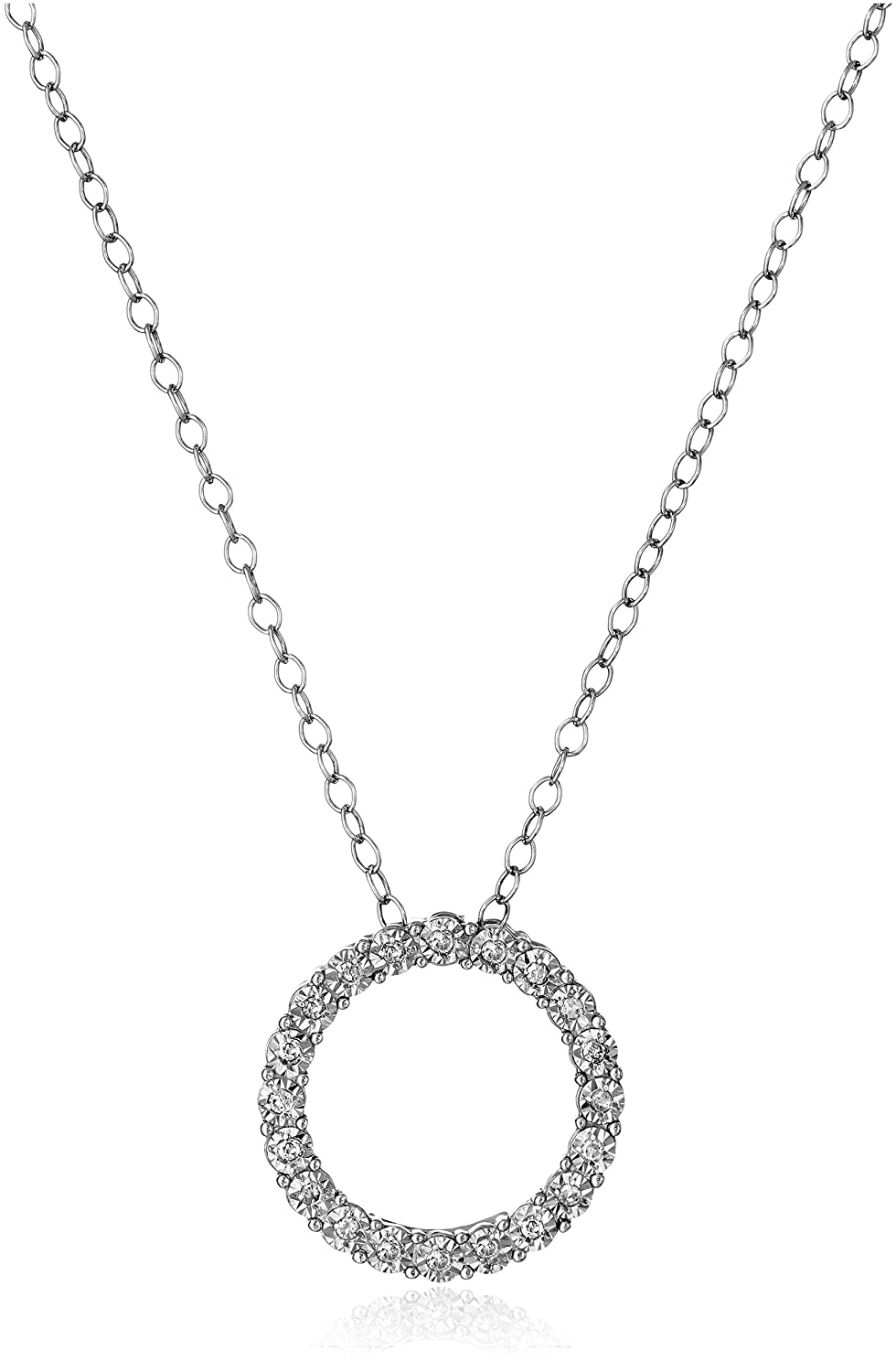 Amazon sterling silver and diamond circle pendant necklace 1 amazon sterling silver and diamond circle pendant necklace 110 cttw h i color i1 i2 clarity 18 jewelry aloadofball Gallery