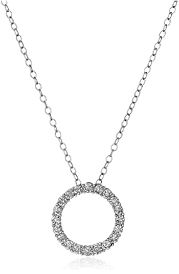 Amazon sterling silver and diamond circle pendant necklace 1 sterling silver and diamond circle pendant necklace 110 cttw h i color aloadofball Images