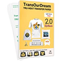 """TransOurDream Upgraded Iron on Heat Transfer Paper for T Shirts (20 Sheets, 8.5x11"""") Iron-on Transfers Paper for Light…"""