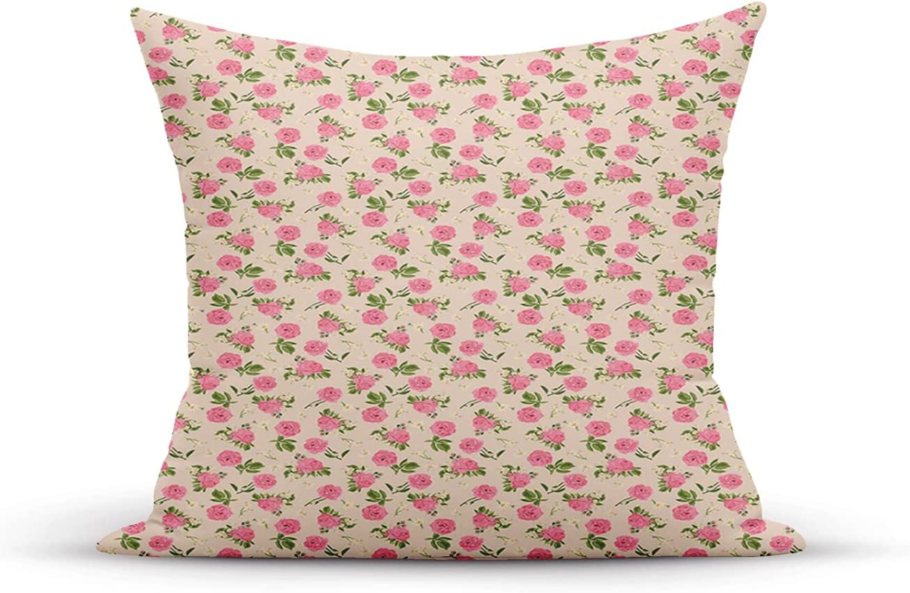 ETHAICO Throw Pillow Cover Case,Flowers Themed English Garden with,Soft Pillow Case for Decorative Bedroom/Livingroom/Sofa/Farm House-Cushion Covers 18x18 Inch