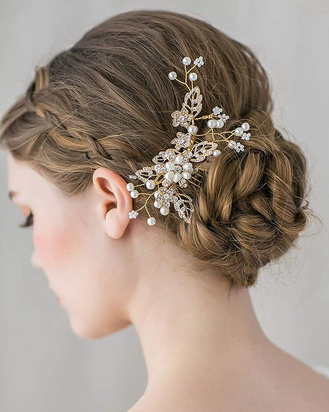 Pearl and Rhinestones Bridal Hair Swirls-Bride-Bridesmaids-Ballroom Dancers Hair Accessory-Ballerinas-Pageant Hair