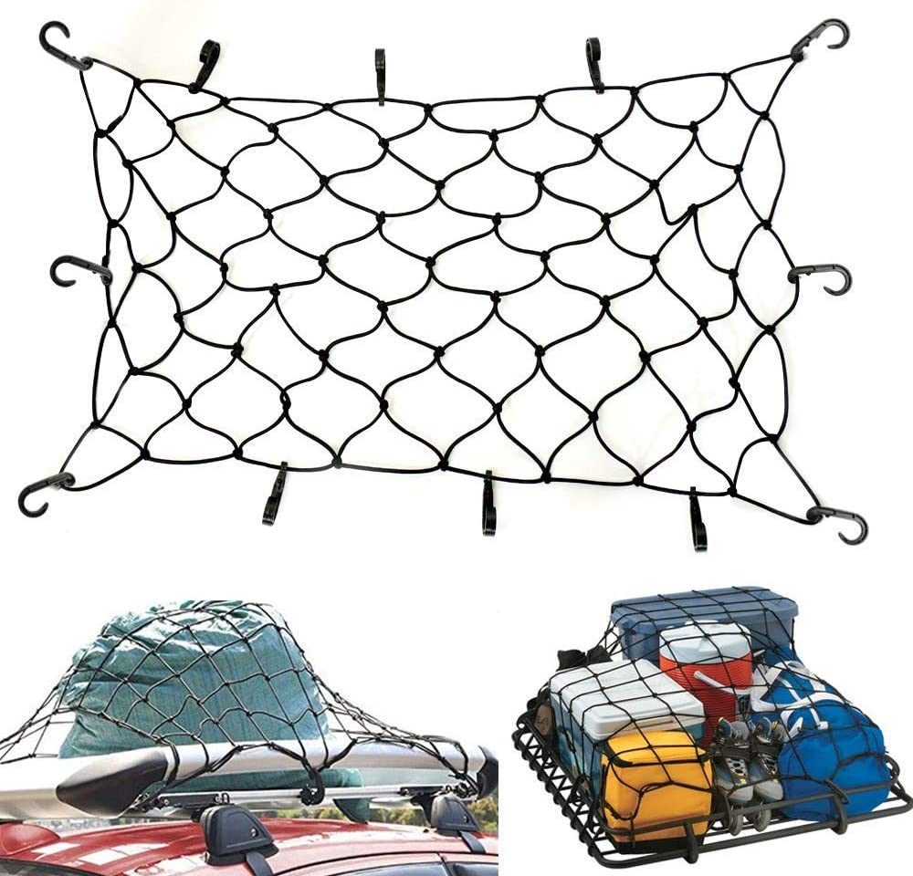 Jeep Rack QITONG 47 x 36/' Bungee Cargo Net Stretches to 80 x 60 for Truck Bed 6mm Premium Bungee Cord Net,Auto Roof Tie-Down Net with 14 Hooks for Rooftop Cargo Carriers