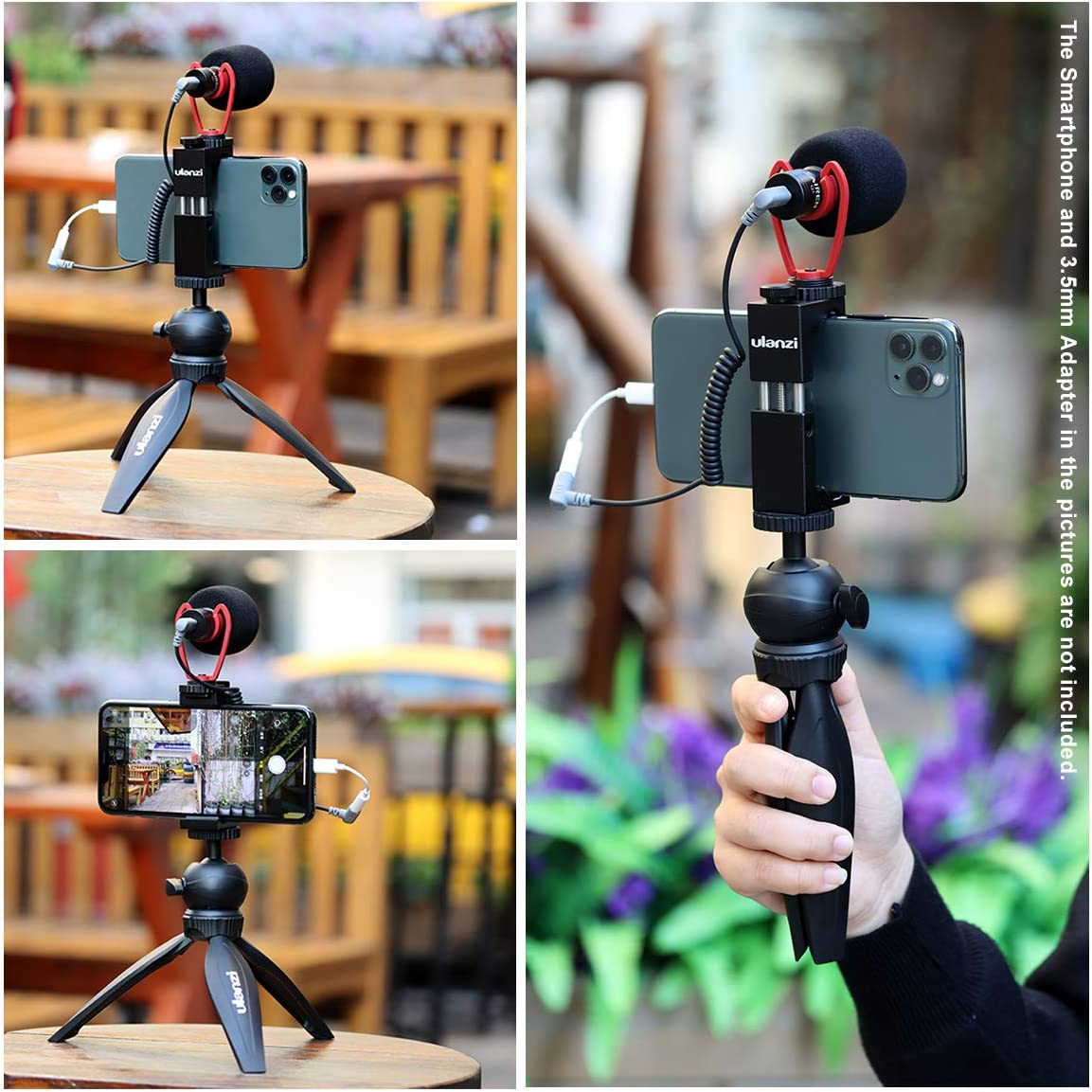 Universal Phone Tripod Mount Vlogging Setup YouTube Equipment for iPhone 11 Pro Max XS 8 Samsung Google OnePlus ULANZI Smartphone Video Kit Shotgun Video Microphone Extension Pod Tripod