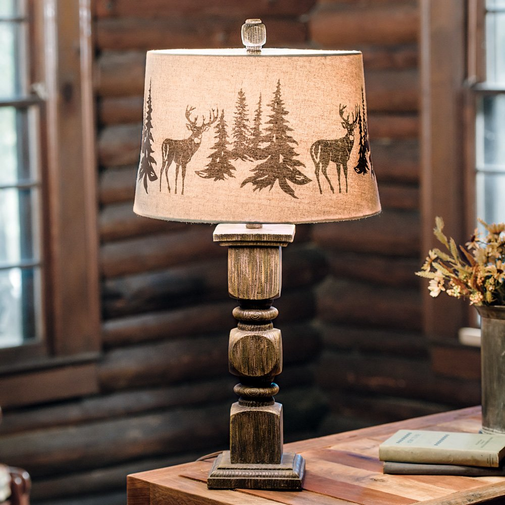 Deer Forest Cabin Table Lamp