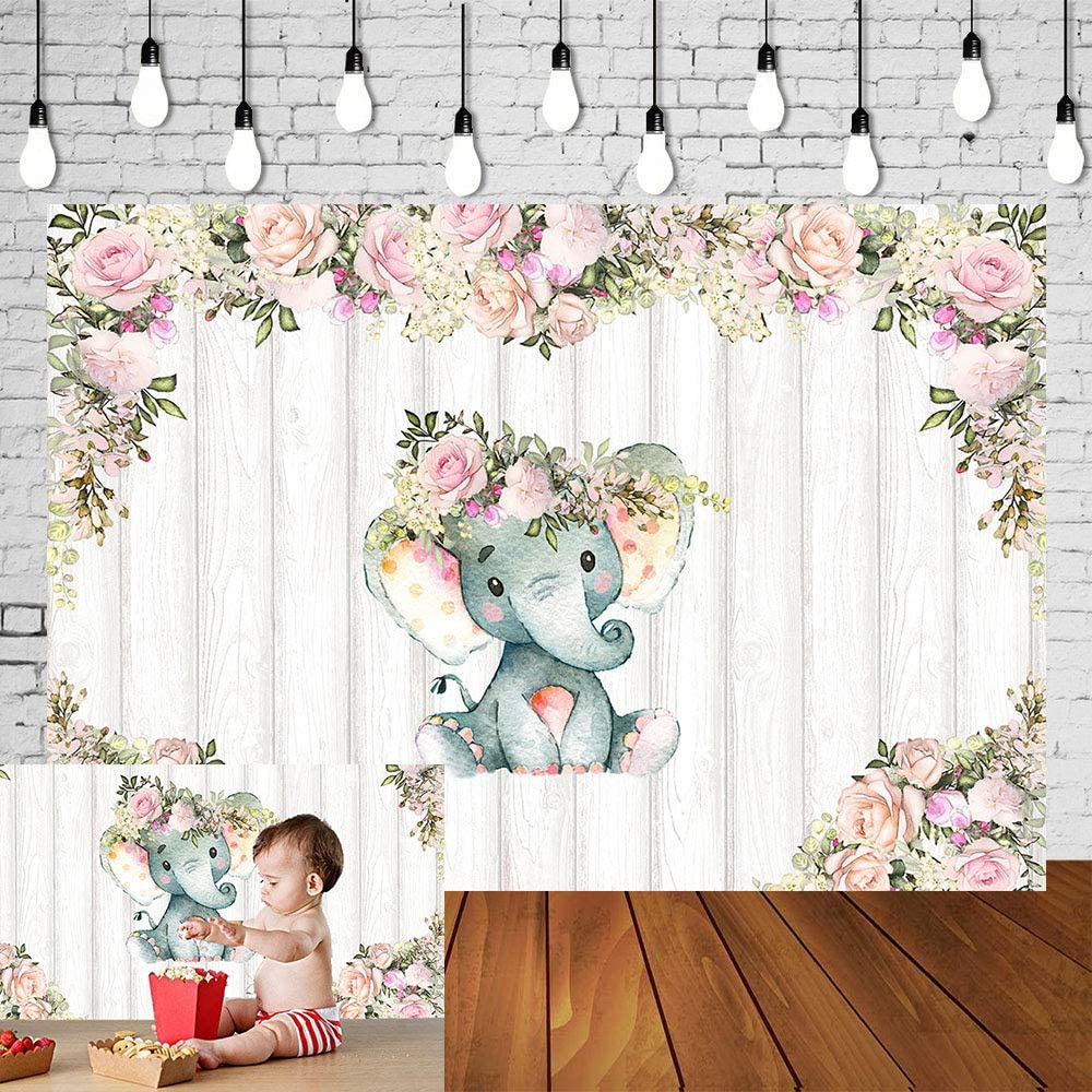 Floral Cute Baby Elephant Photography Backdrops Pink Flower Rustic Wooden Floor Photo Background for Baby Shower Newborn Cake Table Decoration Studio Props Banner Vinyl 5x3ft