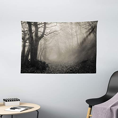 Ambesonne Gothic Tapestry, Pathway on The Gothic Forest Trees Trough Foggy Mysterious Nature Monochrome Artwork, Wide Wall Hanging for Bedroom Living Room Dorm, 60 X 40 , Grey Sepia