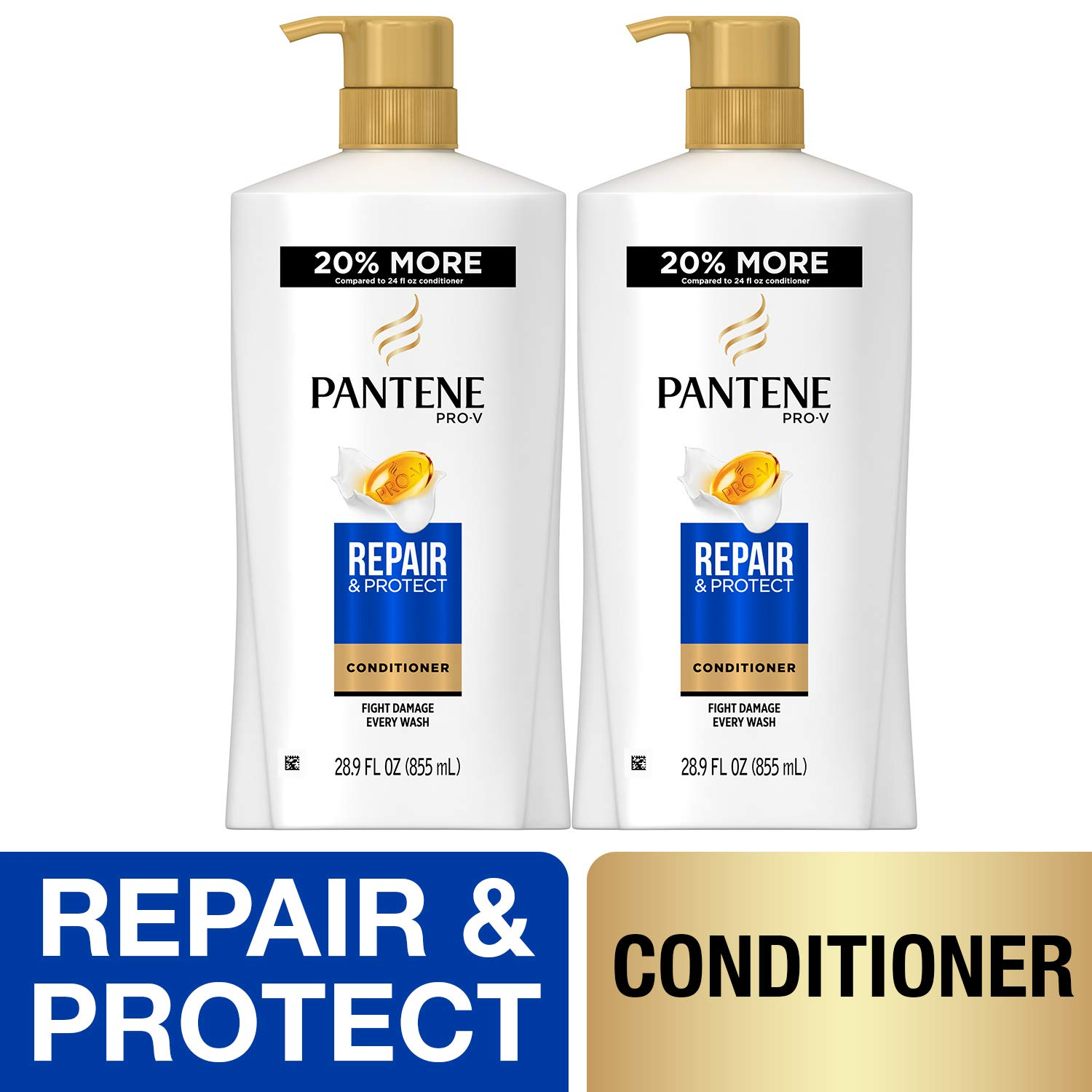 Pantene, Sulfate Free Conditioner, Pro-V Repair and Protect for Damaged Hair, 28.9 fl oz, Twin Pack