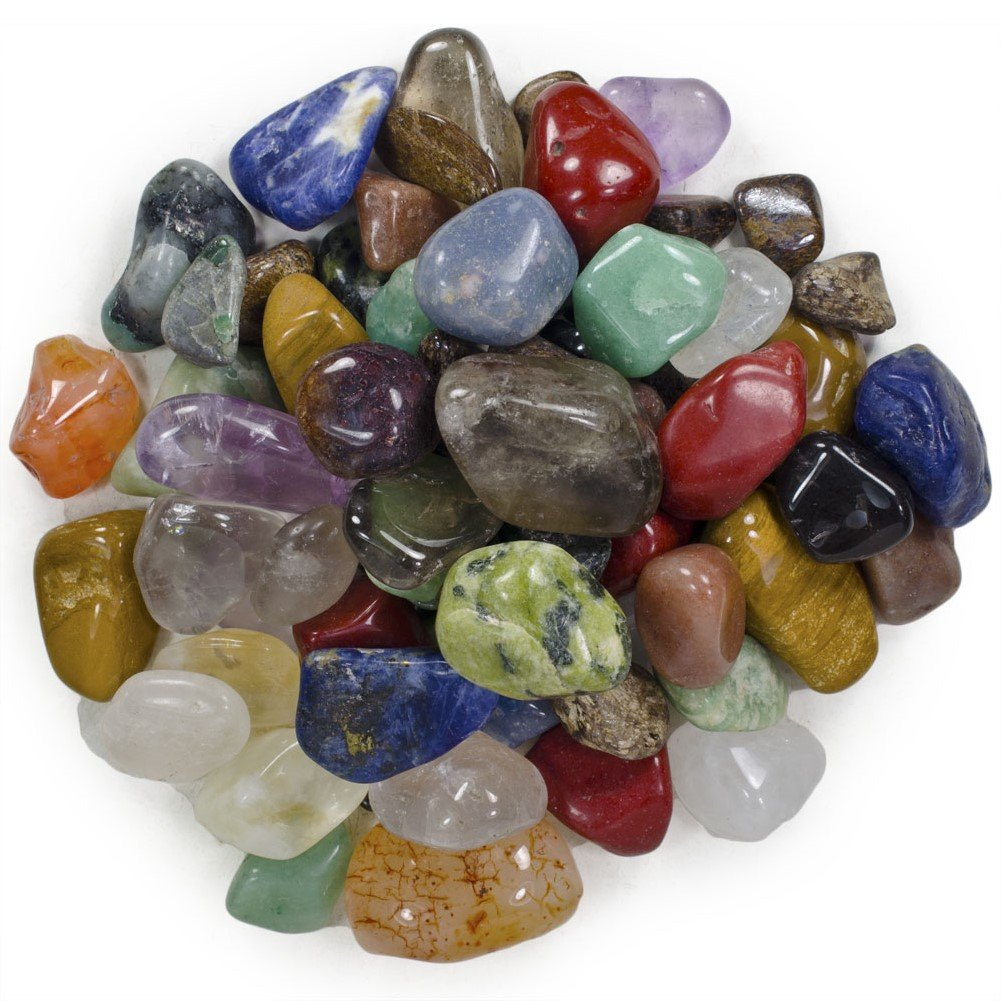 "Hypnotic Gems Natural Tumbled Stone Mix - 50 Pcs - Small Size - 0.75"" to 1.25"" - Average 1"""