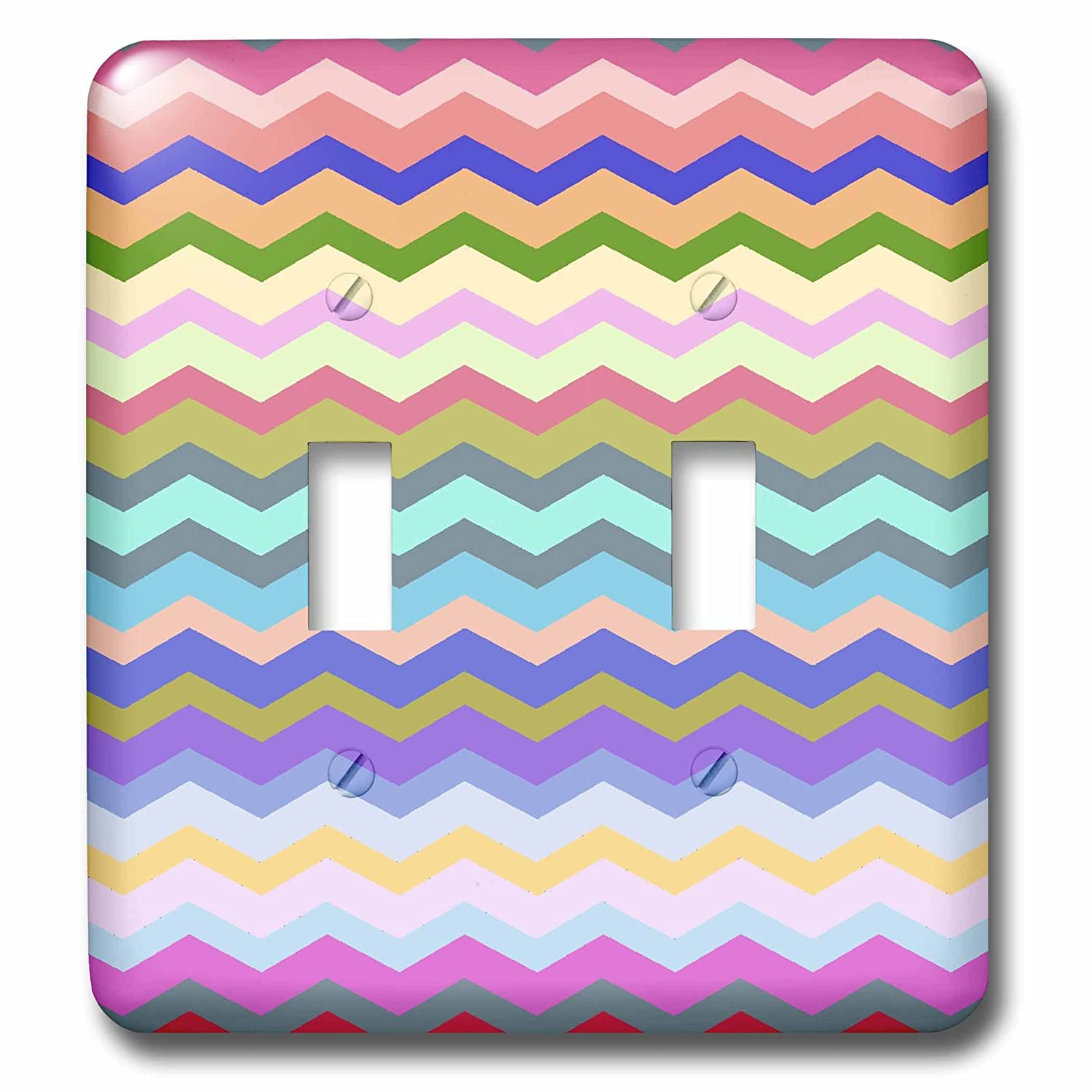 3dRose lsp/_56651/_2 Muted Rainbow Multicolor Chevron Colorful Zig Zag Striped Pattern Double Toggle Switch