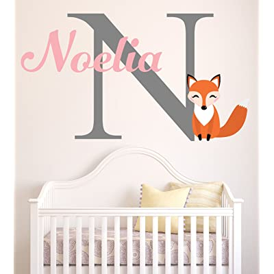 "Lovely Decals World LLC Fox Wall Decal Custom Girl Name Nursery Art Decor Sticker Vinyl LD49 (28"" W x 18"" H): Home & Kitchen"