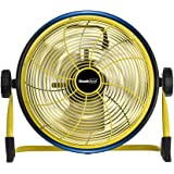 Geek Aire Rechargeable Outdoor Floor High Velocity Fan, Cordless, Max 1500 CFM High Performance Airflow, Up to 24 Hours Run Time, with USB Output for Recharging Digital Devices, 12 inch Metal Blade