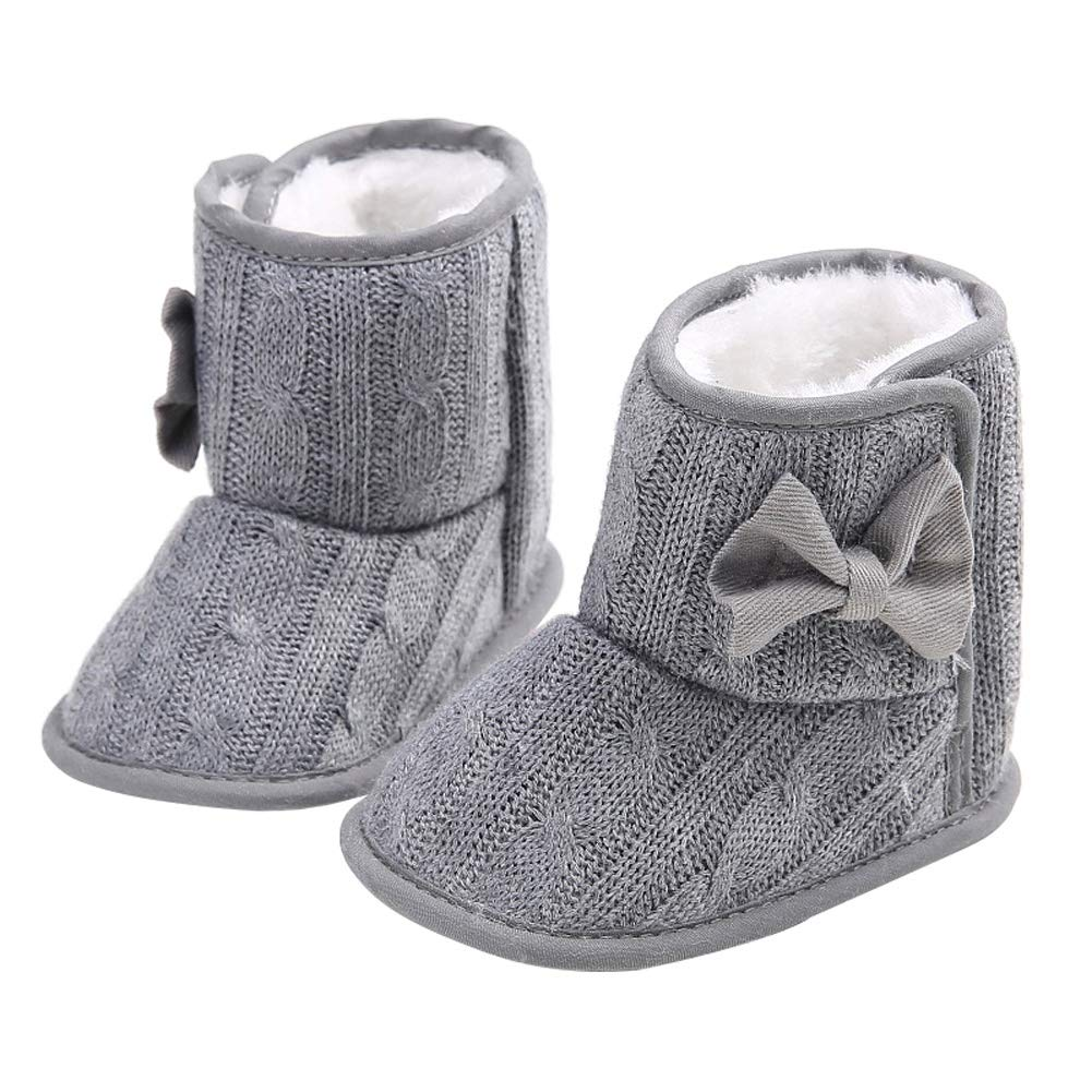 Wollanlily Baby Winter Snow Boots Premium Knit Anti-Slip Soft Sole Girls Boys Infant Toddler Prewalker Crib Shoes(Large(12-18 Months),Gray) by Wollanlily (Image #3)