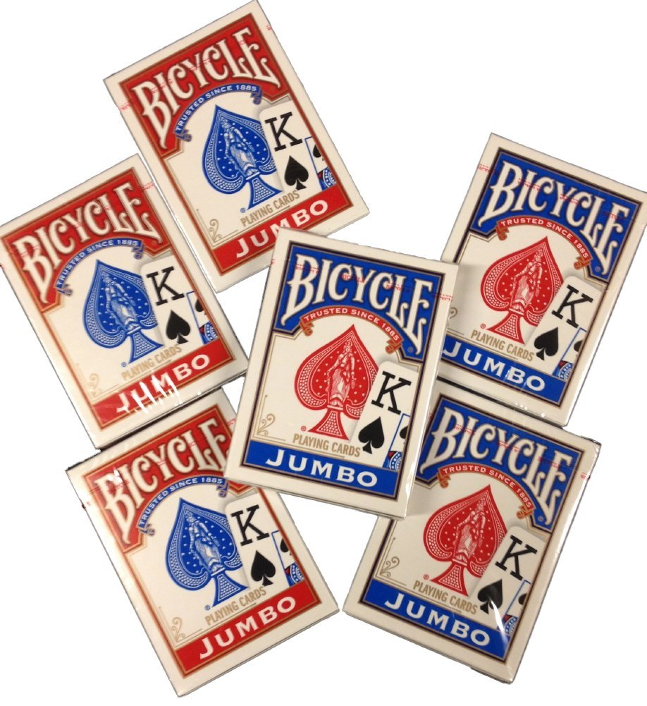 Bicycle Jumbo Index Playing Cards - 6 Decks by Las Vegas Poker Chips