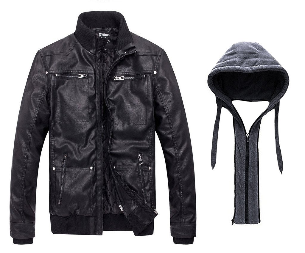 Wantdo Men's Leather Jacket with Removable Hood US Small ...