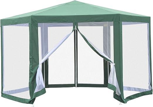 Outsunny - Cenador hexagonal de jardín con 6 mosquiteras de hierro y poliéster verde: Amazon.es: Jardín