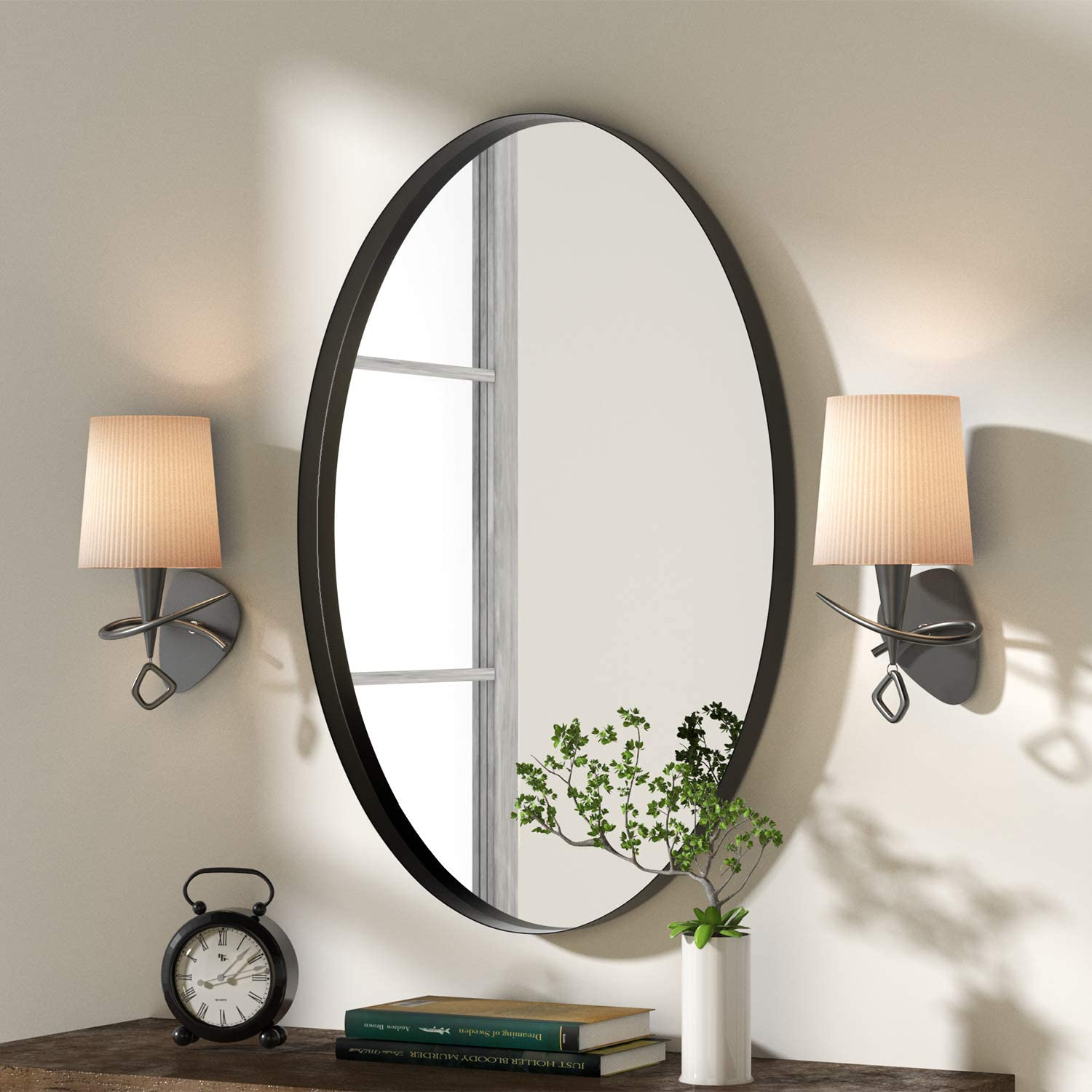 Entryway Wall Mounted 20x28in Black Clean Decor Stainless Steel Framed Mirrors For Vanity Bedroom Nxhome Oval Bathroom Decorative Wall Mirror Living Room Wall Mounted Mirrors Mirrors