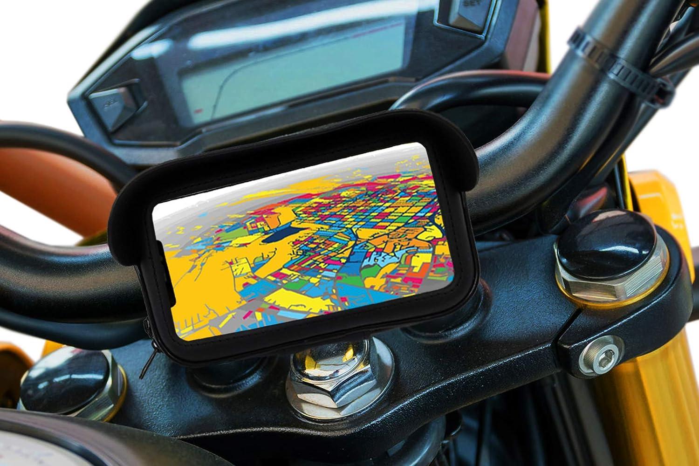 Soporte movil para Moto con Cargador 2.1A Carga rapida Funda Protectora Visera antireflejos Valida para Smartphones hasta 7