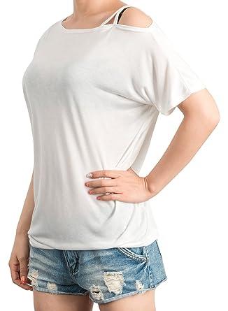fe6b9fb003a3 ililily Women Loose Fit Open-Shoulder Pullover Short Dolman Sleeve T-Shirt  Top