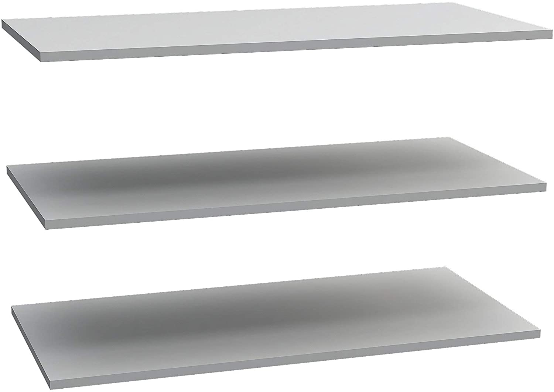 Forte Express NEWFACE-Juego de 2 estantes para Armario de Puertas correderas con diseño Impreso, Madera, Gris, Talla única