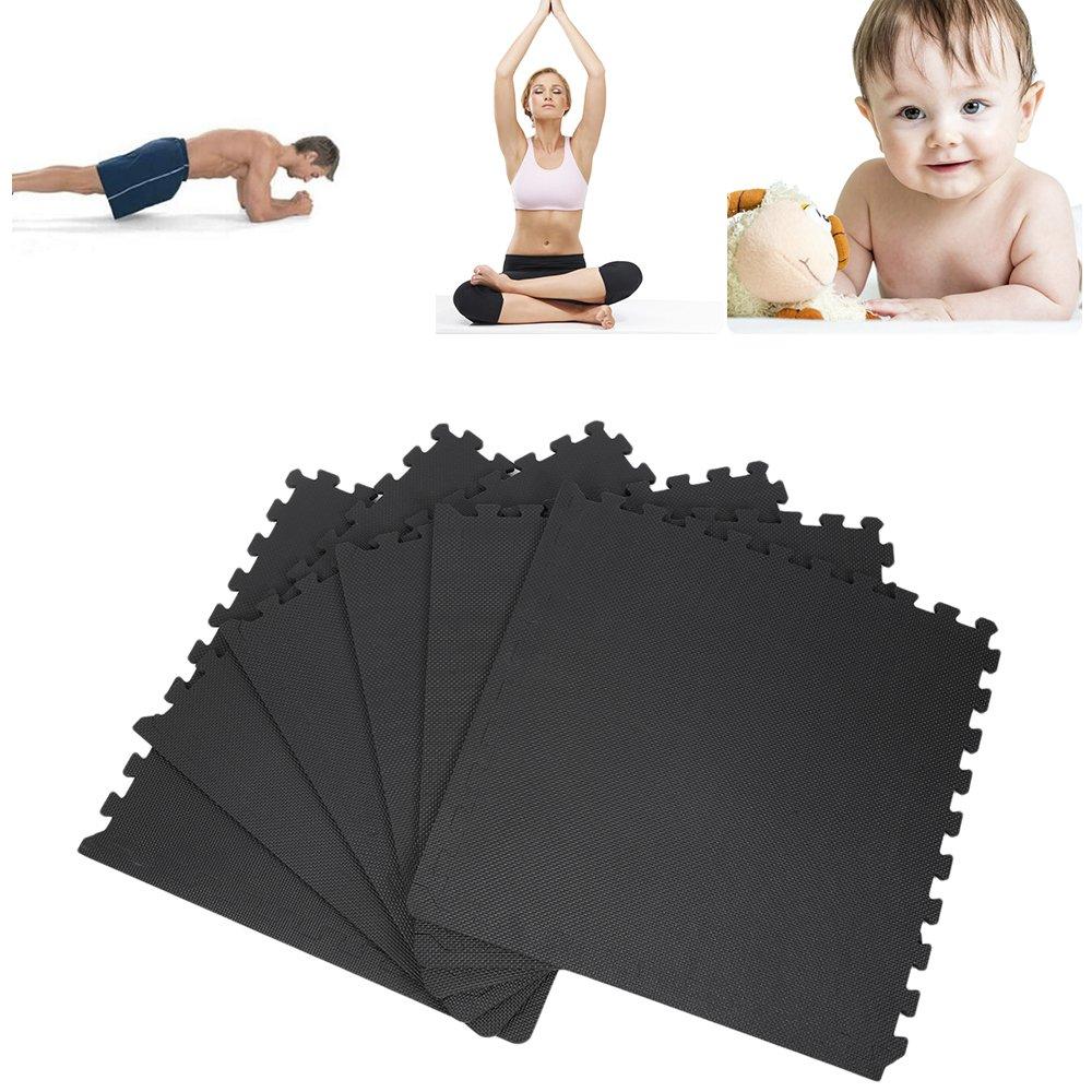 POPSPARKk Schutzmatte, Puzzlematte, Sportmatte Zu Hause, Fitnessmatte, Bodenzmatte, Schwarz Matte EVA matte, 6 stück jeder Stück63 x 63 x 1,2 cm
