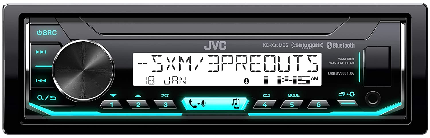 JVC KD-X35MBS Marine Motorsports Compatible with iPod Android Digital Media Receiver with Bluetooth