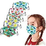 Belcol 5Pcs Kids Reusable Face Bandanas Breathable Seamless Cute Print Cotton Children