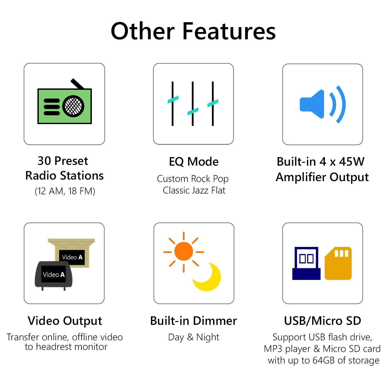 NODVD eonon GA2176 Android 9 7 /écran Tactile LCD Indash Double DIN st/ér/éo de Voiture 2GB RAM 32GB Rom Quad-Core GPS FM RDS USB Headunit Support WiFi Bluetooth 5.0 4G Navigation Universelle