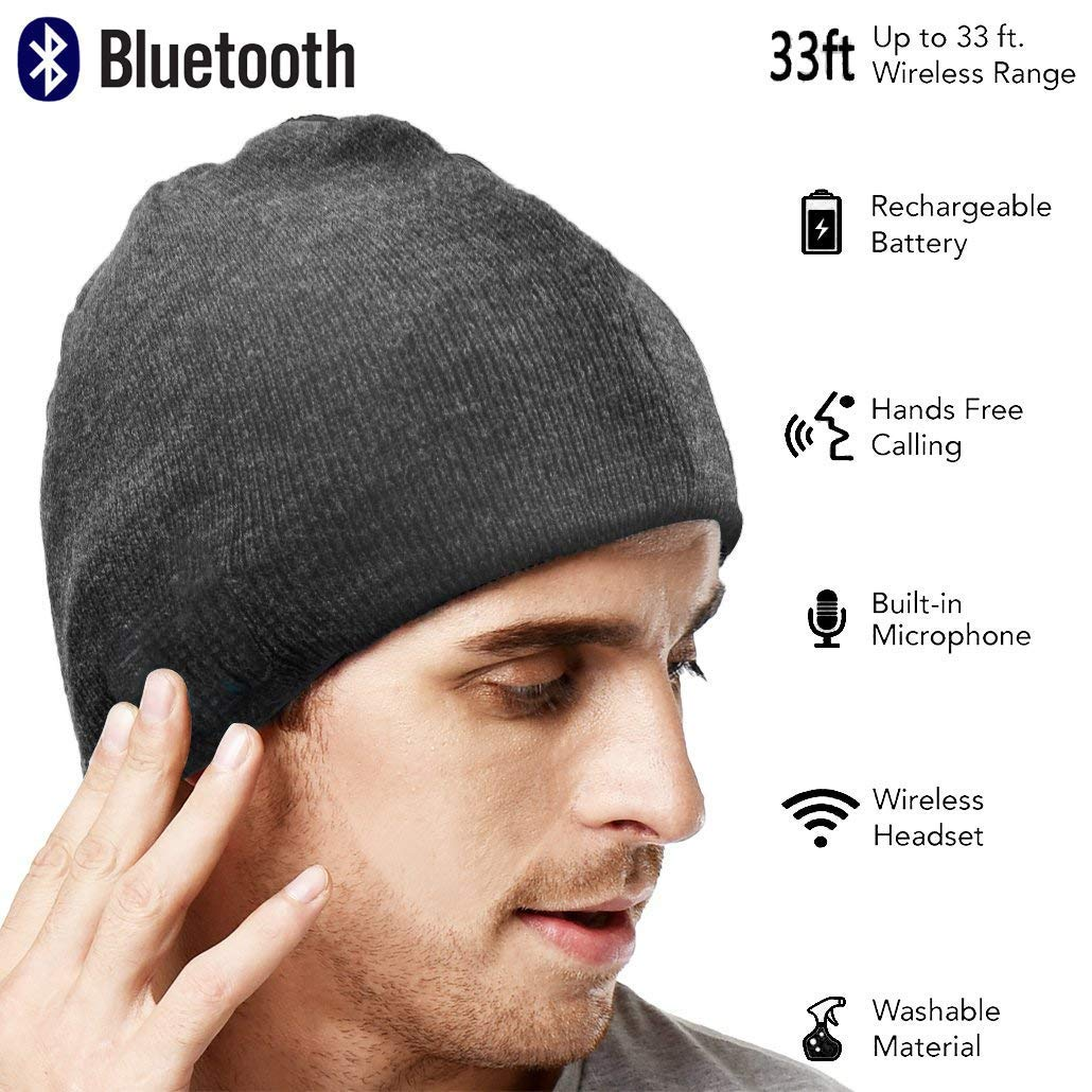 3e07f22a2ac Amazon.com  Upgraded Unisex Knit Bluetooth Beanie Winter Music Hat  Headphones V4.2 w Built-in Stereo Speaker Unique Christmas Tech Gag Gifts  for ...