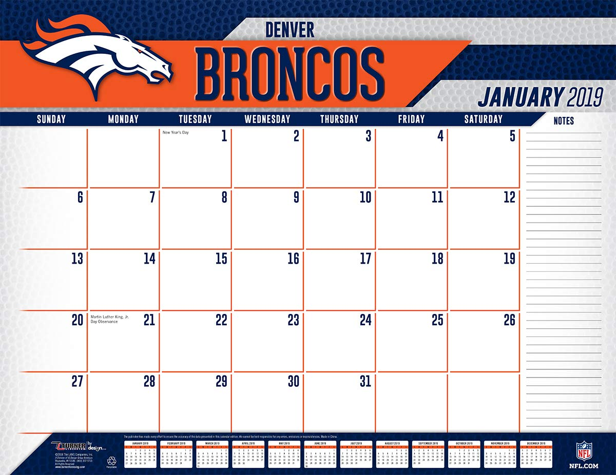 Broncos 2019 Calendar Amazon.: Turner Licensing Denver Broncos 2019 Desk Calendar
