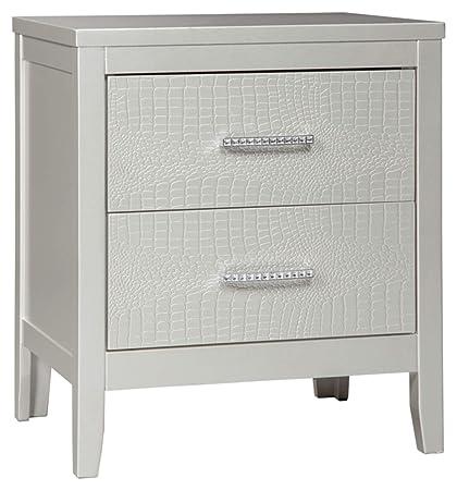 Superbe Ashley Furniture Signature Design   Olivet Nightstand   Contemporary Glam    2 Drawers   Silvertone Metallic