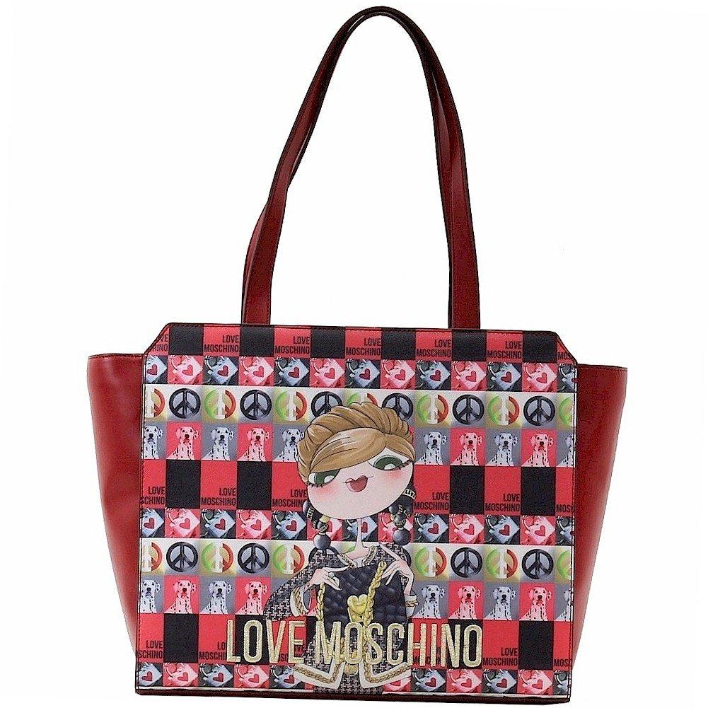 Love Moschino Women's Red Digital Print Double Handle Tote Handbag