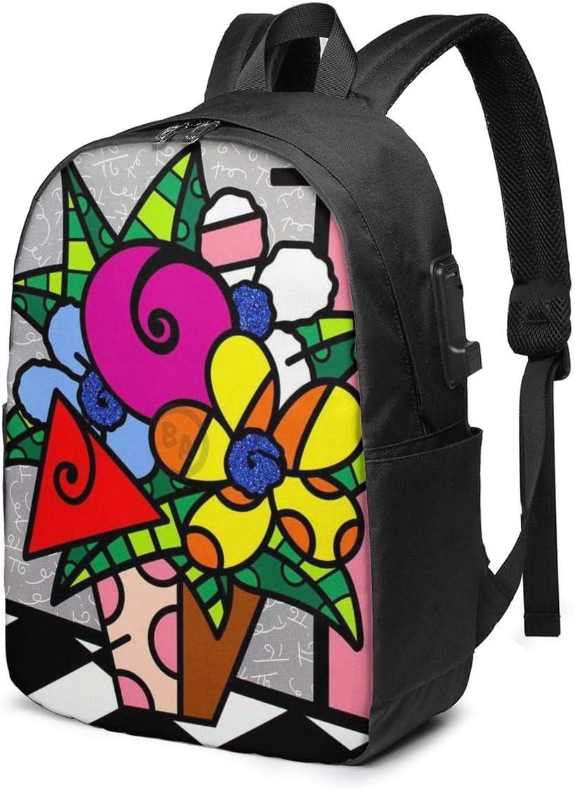 8byeliu 3D Print Romero-Britto Backpack with USB Interface,Classic School Bag DIY Travel Lightweight USB Daypack