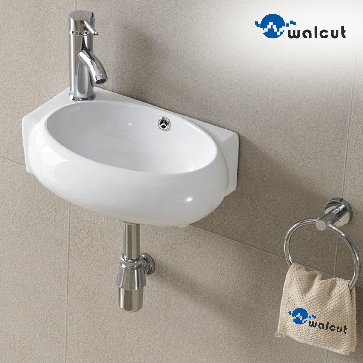 Chic Walcut Corner Wall Mount Bathroom White Porcelain Ceramic Vessel Sink Chrome Faucet Combo